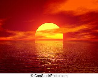 Ocean red sunset render