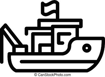 Ocean fishing boat icon, outline style