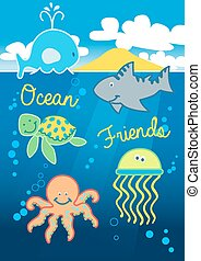 Ocean friends swimming under the sea with island