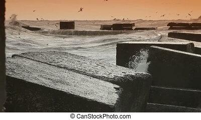 Ocean Fury - Storm Waves Smashing Against Water Brekers High...