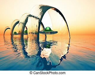 ocean gate - science fiction illustration