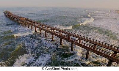 ocean., hölzern, luft, geht, pier, ansicht