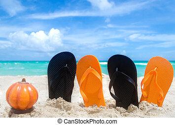 Ocean Halloween background with pumpkin and flip flops