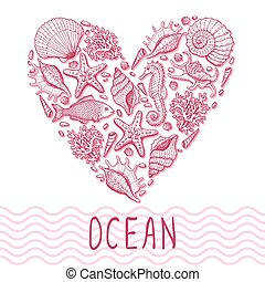 Ocean heart. Original hand drawn illustration