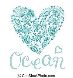 Ocean heart. Original hand drawn illustration