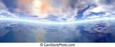 Ocean horizon - 3D render - Beautiful panorama of sunset...