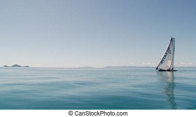 Ocean horizon and a sailboat