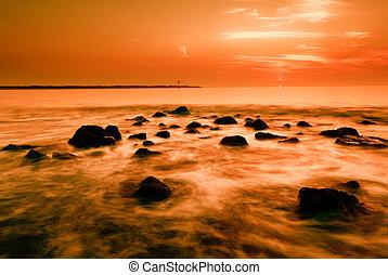 ocean, i, zachód słońca