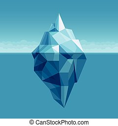 Ocean iceberg antarctic landscape vector background. Iceberg in cold water ocean or sea illustration