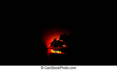 ocean islands with trees at sunrise
