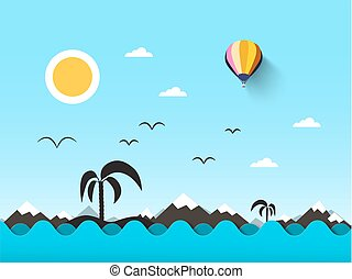 Ocean Landscape. Sea with Waves and Blue Sky. Vector Abstract Flat Scene with Mountains, Palm Tree on Island and Sun.