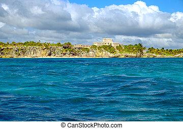 Ocean landscape view of Mayan ruins at ocean coast