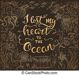 Ocean lettering gold illustration