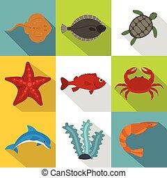 Ocean life icon set, flat style