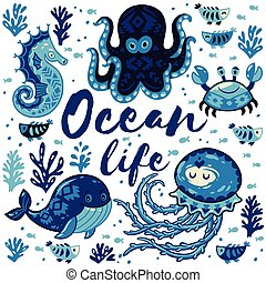 Ocean life. Lovely card with cute animals in nautical style