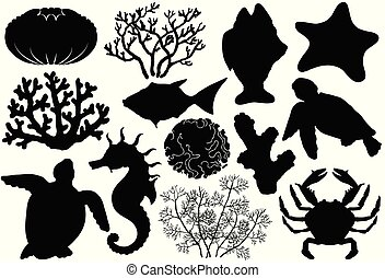 Ocean life organisms silhouettes, shells, fish, corals, sea horse, crab and turtle.