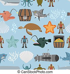 Ocean life seamless pattern. Shark and aquatic turtle, submarine and diver. Chest pirate treasure and  whale. Scallops and coral on  blue background. Vector retro pattern of underwater life.