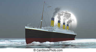 Ocean Liner - An large ocean liner ship carries its...