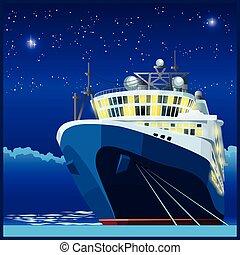 Ocean liner at night
