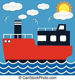 Ocean liner boat ship at sea view in day with big sun and wave. flat design vector illustration.