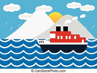 Ocean liner boat ship at sea view in sunset with iceberg and wave. flat design vector illustration.