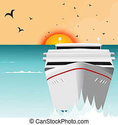 Ocean Liner Cruise Ship Boat at Sea