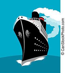 Ocean liner - Illustration on marine travel