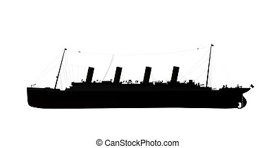 ocean liner silhouette isolated on white background 3d...