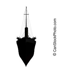 ocean liner silhouette - ocean linear silhouette isolated on...