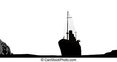 ocean liner silhoutte isolated on white background 3d illustration