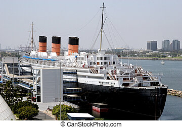 Ocean Liner - View of a classic ocean liner at the dock