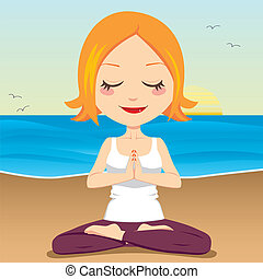 Ocean Meditation - Cute red hair woman meditating and...