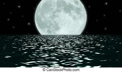 Ocean Night Large Moon Fantasy