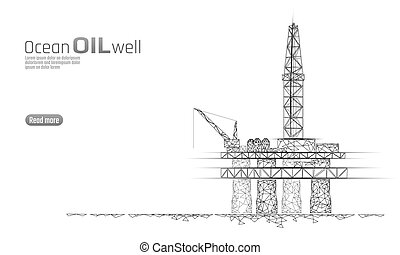 Ocean oil gas drilling rig low poly business concept....