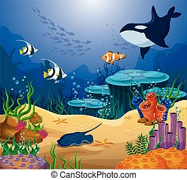 Shoaling and schooling ocean tropical fish behind killer whale, surgeonfish and angelfish, uaru and mesonauta, cichlids and ramp fish or stingray near corals and seaweed. Underwater wildlife, nautical