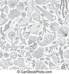 Ocean Pattern - Vector seamless pattern with hand drawn...