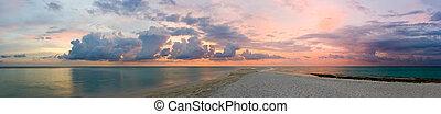 ocean, plaża, zachód słońca