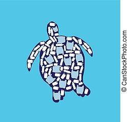 Ocean Pollution - vector illustration of stop ocean plastic...