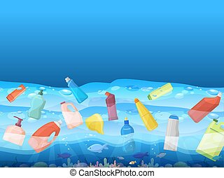 Ocean pollution with image of floating plastic bag and fish inside banner vector illustration. Ecology, environmental protection, environmental disaster. Depth contaminated.