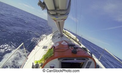 Ocean racing upwind - Small 30 feet yacht, sailing upwind...