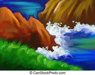 ocean rocks - digital painting of a coastal scene with water...
