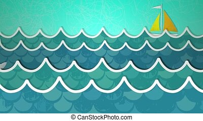 Ocean Scene Loop HD - Dynamic graphic animation using paper...