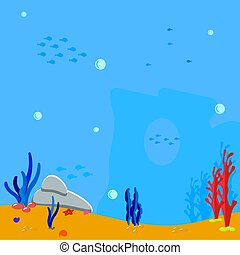Ocean scene. Underwater background. Bubbles water and silhouette seaweed, algae and coral. Blue silhouette fish. Vector illustration marine background.