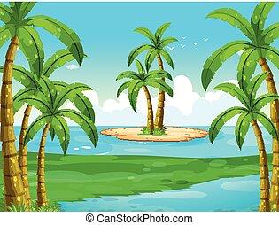 Ocean scene with coconut trees on island