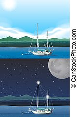 Ocean scene with fishing boat