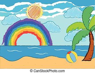 Ocean scene with rainbow and sun