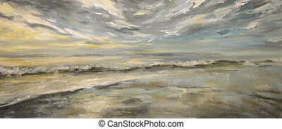 Ocean - Sea after storm.Acrylic painting on canvas.