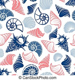 Ocean seamless pattern with sea shells - Colorful ocean...