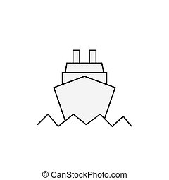 Ocean ship icon in trendy flat style isolated on white background. Website pictogram. Internet symbol for your web site design, logo, app, UI. Vector illustration, EPS10