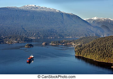 Ocean Ship in Burrard Inlet - Vancouver Harbor, Ocean Ship...